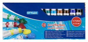 Stylex 28651 Acrylfarben matt 12 Tuben / Farben à 12 ml