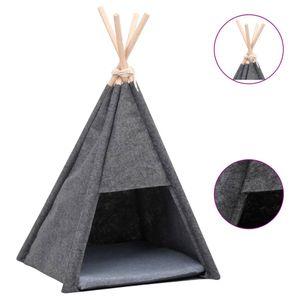 vidaXL Katzen-Tipi-Zelt mit Tasche Samt Schwarz 40x40x70 cm
