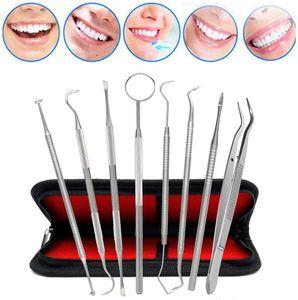 8er Zahnpflege Set,Zahnsteinentferner,Zahnreinigung Set,Dental Set,Edelstahl Zahnarzt Instrument,Zahnarztbesteck,Zahnsonde,Scaler, Mundspiegel für Zahnstein und Plaque