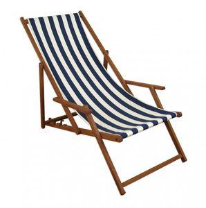 Gartenliege blau-weiß Liegestuhl Sonnenliege Strandstuhl Deckchair Buche dunkel klappbar 10-317