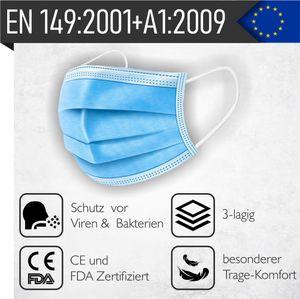 100x Mund-Nase-Maske | , EN 149:2001+A1:2009, 3-lagig