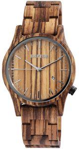Raptor Uhr Holz Herrenarmbanduhr Zebra braun RA20243-001
