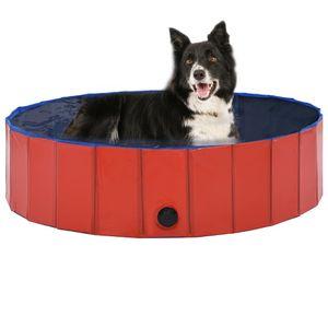 Hundepool Faltbar Rot 120 x 30 cm PVC