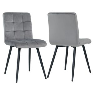 Duhome 2er Set Esszimmerstuhl Polsterstuhl aus Stoff Samt Grau Metallbeine