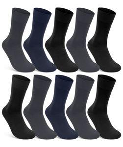 10 Paar Damen & Herren Socken 100% Baumwolle ohne Naht ohne Gummidruck Grau Blau Schwarz 39-42