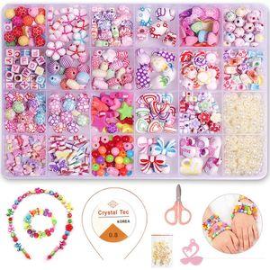 24 Arten DIY Armband bunte perlen set mit einer Aufbewahrungsbox, bunte DIY Perlenschmuck für Kinder zum Basteln