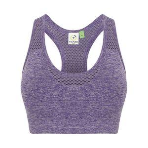 Tombo Damen Crop-Top, nahtlos PC3046 (L) (Violett meliert)
