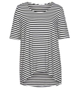 IMP by IMPERIAL Ringel-Shirt maritimes Damen Kurzarm-Shirt Vokuhila Marine/Weiß, Größe:S