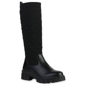 VAN HILL Damen Plateaustiefel Plateau Vorne Stiefel Gesteppte Strick Schuhe 837675, Farbe: Schwarz, Größe: 38