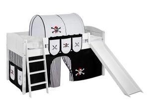 Lilokids Spielbett IDA 4106 Pirat Schwarz Weiß - Teilbares Systemhochbett - weiß - mit Rutsche und Vorhang - Maße: 113 cm x 208 cm x 98 cm; IDA4106KWR-PIRAT-SCHWARZ-S