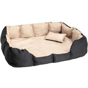 tectake Hundebett mit Decke und Kissen 110 x 90 cm - schwarz/beige