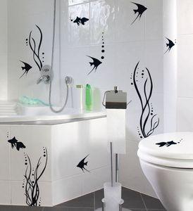 Bad Deko WAND TATTOO SET Fischwelt Fische Badezimmer WC Fliesen