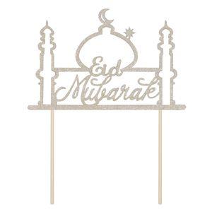 1 Stück Eid Mubarak Cake Topper Funkeln 12,7 x 5,7 cm Silber Style 3