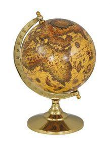 Historischer Globus, Weltkugel des Barock auf Messingstand 23 cm