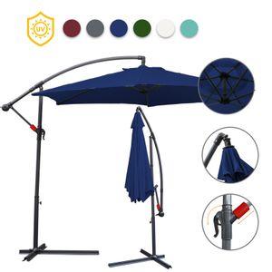 EINFEBEN 3.5m Sonnenschirm Ampelschirm Balkonschirm Marktschirm UV40+ Gartenschirm,Blau