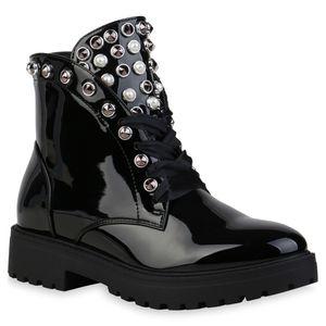 Mytrendshoe Damen Schnürstiefeletten Leicht Gefüttert Stiefeletten Schuhe 835785, Farbe: Schwarz, Größe: 40