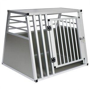 EUGAD Hundetransportbox Alu Hundebox Reisebox Autobox für große Hunde Husky Samojede Weimaraner Border Collie Chow-Chow 80 x 65 x 65 cm XL 0061HT