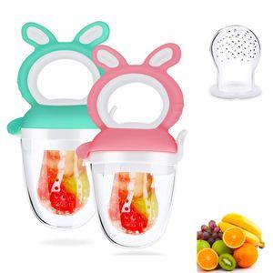 2 Stück Baby Fruchtsauger,Silikon Schnuller Beißringe,BPA-frei,für Obst,Gemüse,Brei,Beikost
