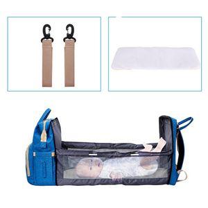 Wickeltasche Wickelrucksack mit Babybett Babytaschen mit bett Multifunktional Wickeltaschen Große Kapazität Wasserdicht Babyrucksack, Grau