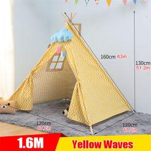 MECO Kinderzelt Tipi Spielzelt für Kinder Kinderzimmer Zelt Kinder Geschenke Zelt Indianerzelt - Spielhaus Zelt für Drinnen und Draußen Farbr: Gelb 1,6m