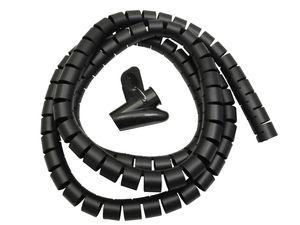 Flexible Kabelspirale Spiralband Kabelkanal Schlauch & Clip Schwarz 2m