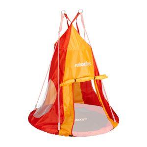 relaxdays Zelt für Nestschaukel rot-orange