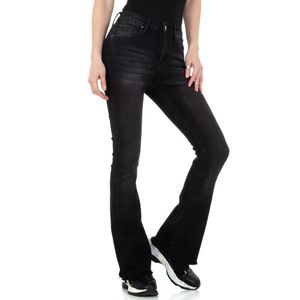 Ital-Design Damen Jeans Bootcut Jeans Schwarz Gr.m/38