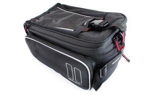 Basil Fahrrad Gepäckträgertasche 'Sport Design Trunkbag' 7 - 12 Liter, Schwarz mit MIK Adapterplatte, abnehmbarer Schultergurt