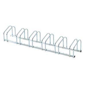 HOMCOM Fahrradständer Radständer Aufstellständer Mehrfachständer Fahrrad Ständer Boden- und Wandmontage Stahl Silber 160 x 33 x 27 cm bis 6 Fahrräder