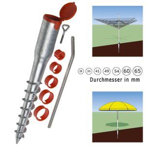 Bodenhülse Eindrehhülse Pfostenträger Schirmständer rund 26 - 68 mm