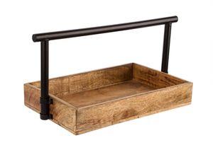 Holztablett mit Griff - Holzablage für Büro und Schreibtisch - Holztablett zum Tragen