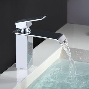 Wasserhahn Bad Wasserfall Badarmatur Messing Verchromt Waschbecken Armatur Einhandmischer Spülbecken Waschtischarmatur Armatur Bad