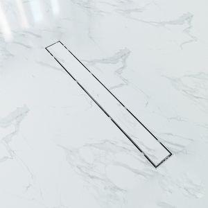 Duschrinne 70cm Edelstahl, 2 in 1 befliesbar Bodenablauf dusche, Duschablauf flach mit Siphon