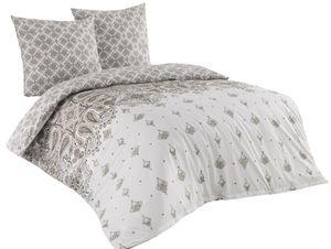 Bettwäsche 200x220 + 2x 80x80 cm Baumwolle Renforce Weiß braun Ornamente, 3-teilig