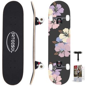 arteesol Skateboard Kirschblüten Graffiti Komplettboard Funboard Ahorn Kugellager ABEC-9 Holzboard 20x78cm