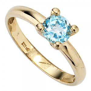 JOBO Damen Ring 333 Gold Gelbgold 1 Blautopas Goldring Größe 50