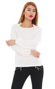Amel Damen Oberteil Longshirt Langarm Shirt Top Tunika mit Schulter Cut Outs Ausschnitt, Creme L