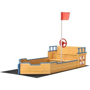 Juskys Sandkasten Käpt'n Pit - Piratenschiff Boot aus Holz – Große Kinder Sandkiste für den Garten mit Bodenplane und Sitzbank, Outdoor Sandbox