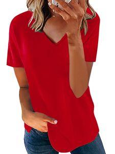 Lässiges einfarbiges kurzärmeliges lockeres Oberhemd mit V-Ausschnitt für Damen,Farbe: Rot,Größe:XL