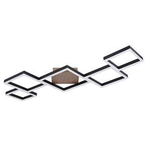 LED Deckenleuchte, Holzoptik, dimmbar, Fernbedienung, L 120 cm