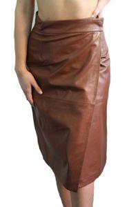 French Connection Damen Rock Leder Braun Gr. XS  Skirt A Linie #KK18b