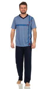 Herren Sommer Pyjama Lange Schlafhose V- T-shirt, Blau XL