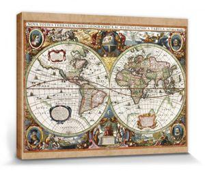 Historische Landkarten Poster Leinwandbild Auf Keilrahmen - Weltkarte, Nova Totius Terrarum, 1630 (30 x 40 cm)