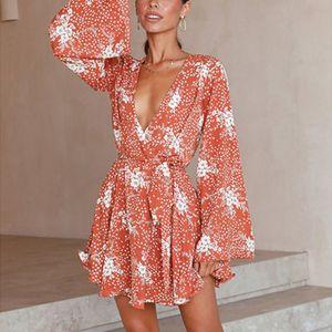 Damen Langarm Blumendruck Mini Wickelkleid Damen Sommer Party Tunika Kleid