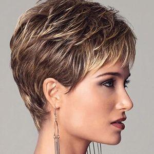 Frauen Mode Rose Net Puff natürliche gerade gerade lockige synthetische kurze Perücke Haarteil