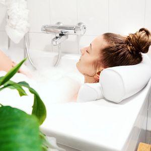 Navaris Badewannen Kissen Badekissen aus Mesh - Wannenkissen Kopfkissen Nackenkissen Badewannenkissen -  Standard 100 - Anti Rutsch in Weiß