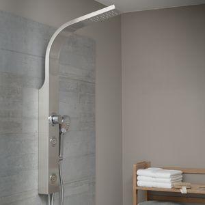 Duschpaneel SANSIBAR, Duschset mit Regendusche und Handbrause, Duschsäule ohne Armatur, Edelstahl