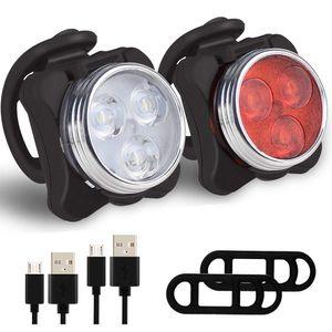Neu LED Fahrradlampe Set USB Akku Radlicht Fahrradlicht Vorne & Hinten Lampe für Mountainbike Rennräder  Fahrradbeleuchtung