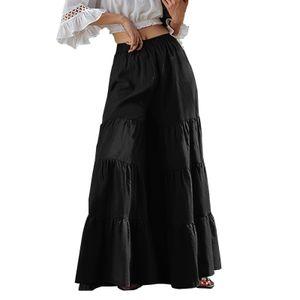 ZANZEA Damen Elastische Taille Tiered Layered Hose Weites Bein Palazzo Culottes Rockhose, Farbe: Schwarz, Größe: 5XL