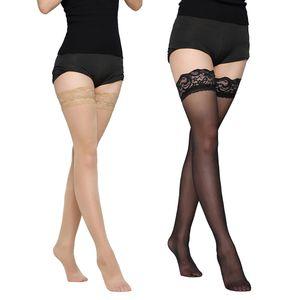 2Pairs y Womens Lace Top Strümpfe über Knie Oberschenkel Hohe Strumpfhosen Lange Socken